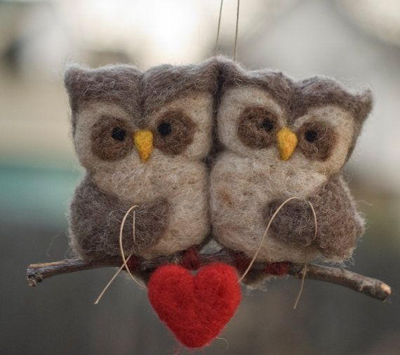 cutest #Valentine gift ever>> Needle Felted Owl Ornament  Love Birds by scratchcraft on Etsy, $42.00