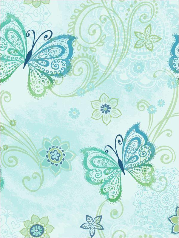Blue Boho Butterflies Wallpaper ~ Chesapeake Kids Wallpaper.