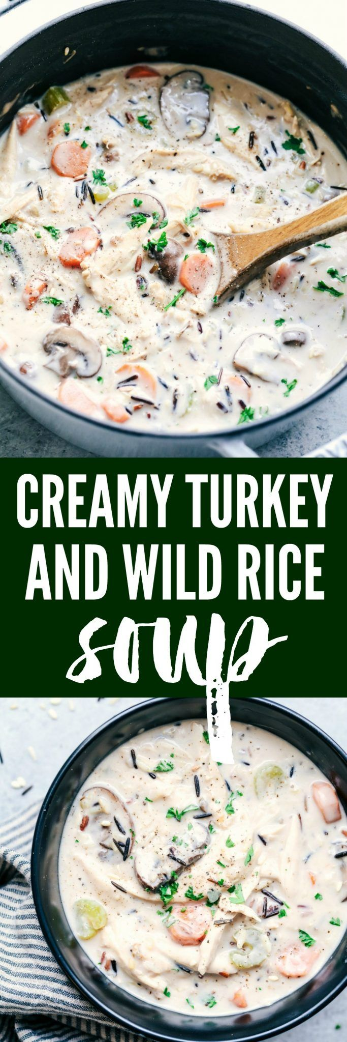 Creamy Turkey Wild Rice Soup is a creamy and delicious hearty soup filled with wild rice, veggies, and perfect for using up leftover turkey!