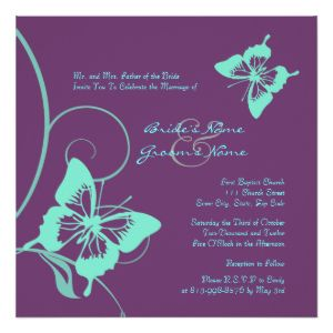 Purple and Teal Butterfly Wedding Invitation 5.25