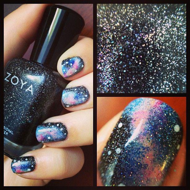 Galaxy nail art featuring Zoya Nail Polish in Storm via Instagram - Photo by bunniexoxo