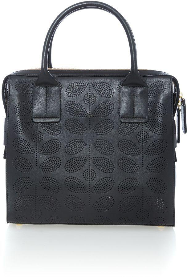 Orla Kiely Margot black tote bag