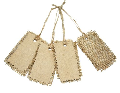 Hessian Burlap & Recycled Brown Cards Swing Tags with string For WEDDING…