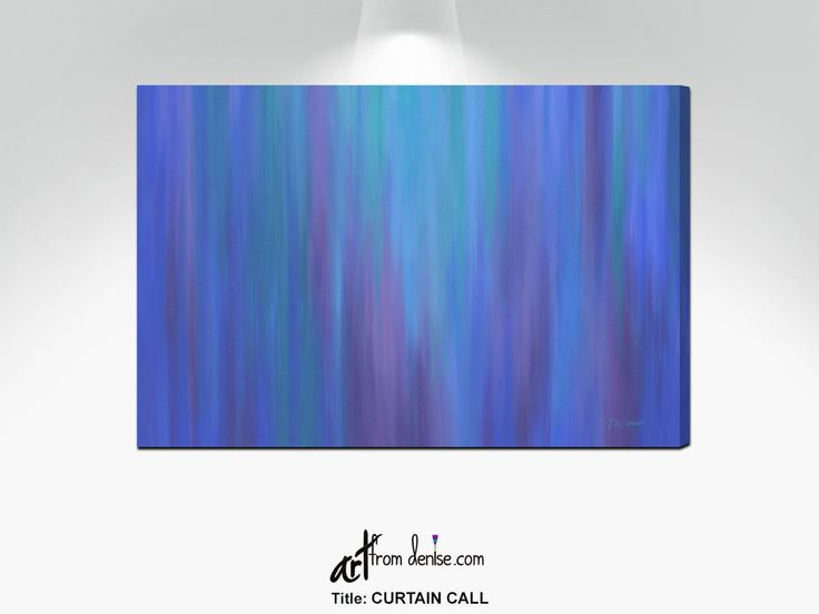 Cobalt blue, plum and purple wall art canvas print, Abstract bedroom decor over bed, above couch, dining picture or bathroom artwork