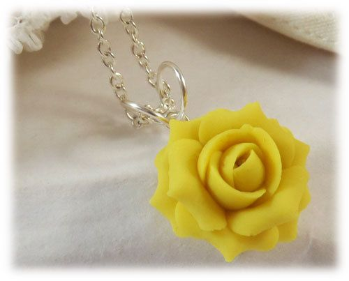 Yellow Rose Necklace Yellow Flower Necklace by strandedtreasures