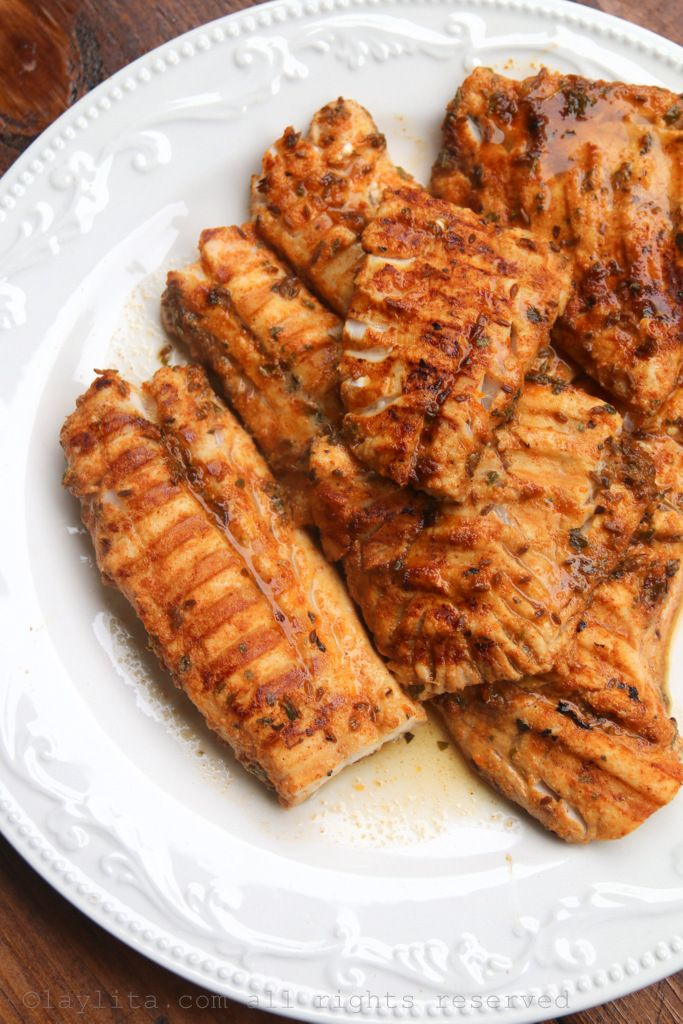 Citrus marinated grilled fish recipe. She used Cod but the marinade will work with almost all fish, like Salmon. Sour oranges, chipotle, and garlic, yum!