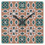 Ethnic Native American Indian Tribe Mosaic Pattern Square Wall Clock  #American #Clock #Ethnic #Indian #Mosaic #Native #Pattern #RusticClock #Square #Tribe #Wall The Rustic Clock