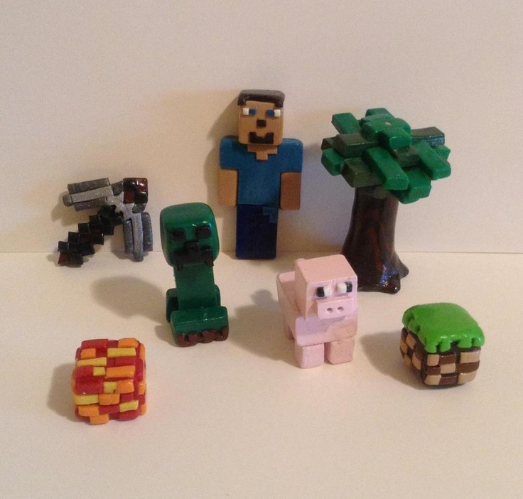These are Minecraft figures I made from clay for my son's birthday cake.They will be amazing decorations for the cake and a huge surprise for him.Plus afterwards he can actually play with them :)   https://www.facebook.com/HmsPrettyLittleJewels