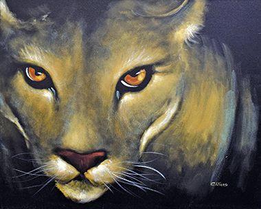 Intensément beau, les yeux brillants de couleur or de ce couguar sont éclatants créant un contraste total avec le bleu foncé et le noir de son corps. Entièrement peint à la main sur canevas.
