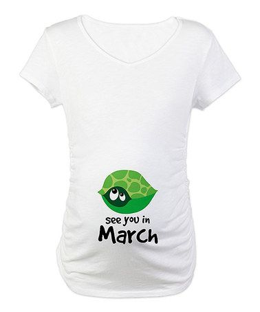 Take a look at this White Turtle 'See you in March' Maternity Tee - Women by CafePress on #zulily today!