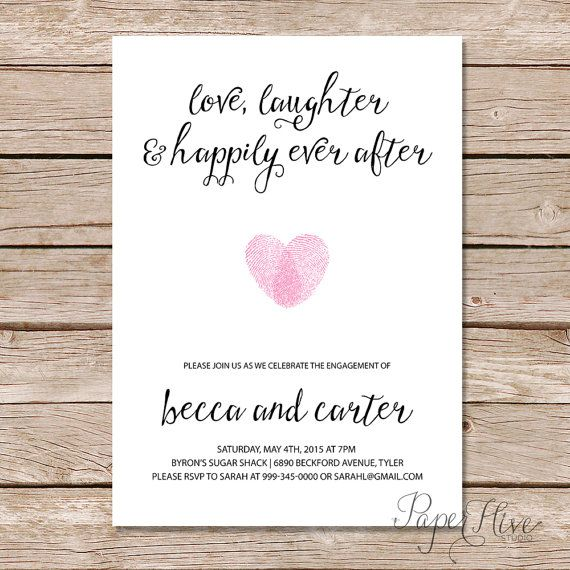 Engagement party invitation love laughter and happily for Engagement party invitations with photo