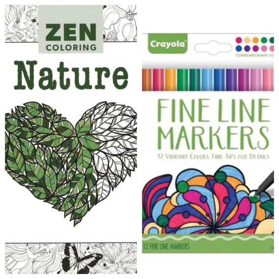 zen coloring nature adult coloring book with crayola fine line magic marker set of 12 - Magic Marker Coloring Book