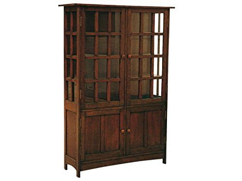This is an Arts & Crafts Mission Oak China Cabinet or a Bookcase made with solid white Oak. This is a high quality piece, very solid, no veneer, made with alot of expertise and attention to details as