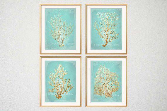 Aqua Gold Wall Art Beach House Gallery Aqua Bathroom Art Mint