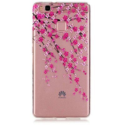 "For Huawei P9 Lite Clear Case , ivencase Flower Transparent Ultra Slim Soft TPU Gel Silicone Cover for Huawei P9 Lite 5.2"" + One ""ivencase"" Anti-dust Plug Stopper"