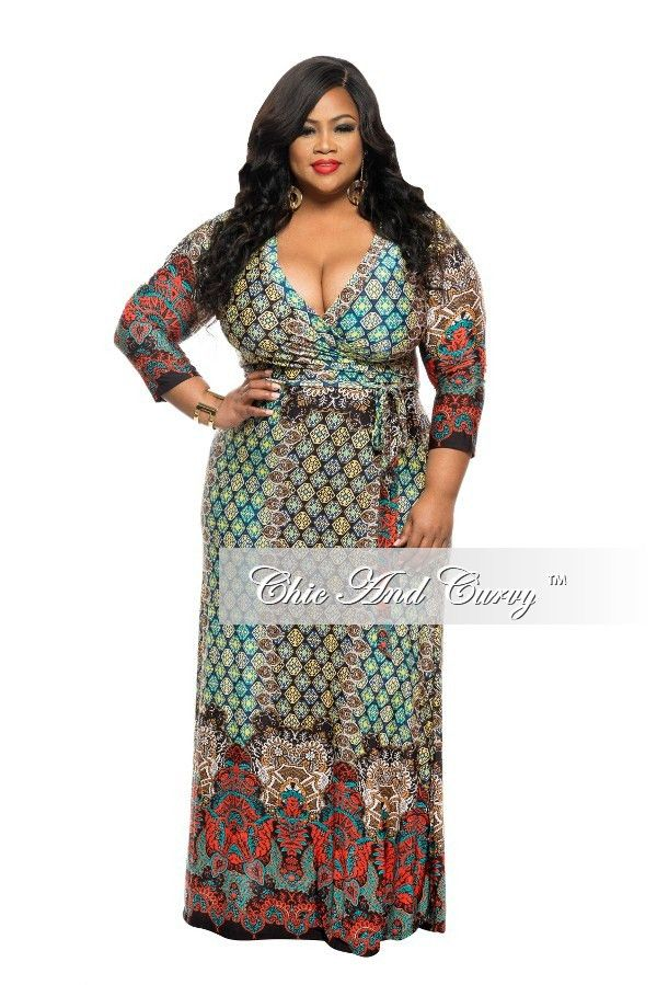 New Plus Size Long Dress with Tie in Black, Royal Blue, Teal and Yellow Print