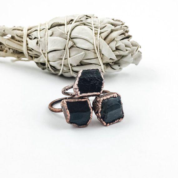 Black Tourmaline Rings  Rough Black by CrystalSpiritDesigns