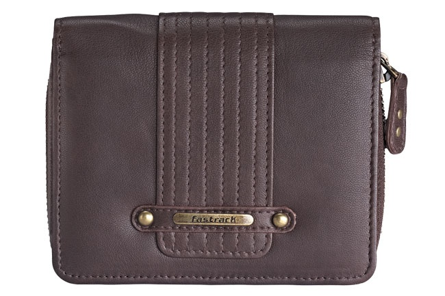 Fold-over wallet in smooth leather, with extra cc flap and zip around coin compartment. Wallets from Fastrack   http://www.fastrack.in/product/c0336lbr01/?filter=yes=india=8=4&_=1334231923409