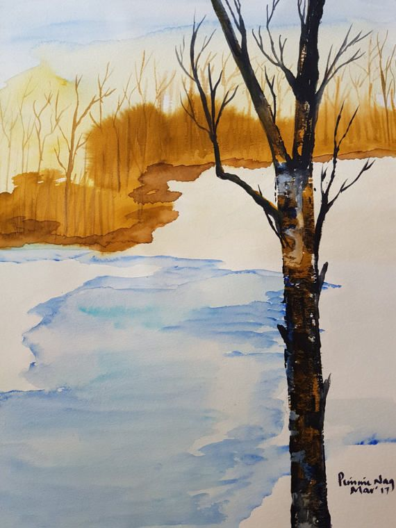 Winter Sunset by ChezPimmi on Etsy