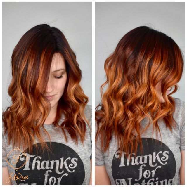 Copper Red Balayage Hair With A Shadow Root Beautifully Melted With Bright Red Copper Pieces Throughout The H Red Balayage Hair Red Balayage Ginger Hair Color