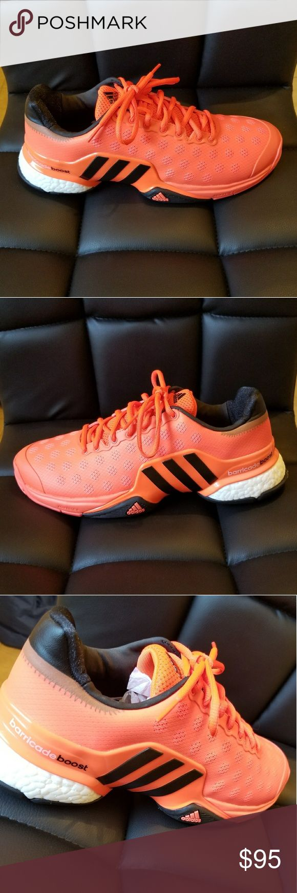 Adidas Barricade 2015 Boost These were a gift but I have never worn them. They're new Adidas tennis shoes! Bright orange color. adidas Shoes Athletic Shoes