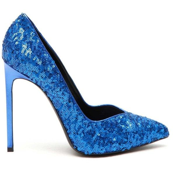 SAINT LAURENT Sequins pumps (8.305 ARS) ❤ liked on Polyvore featuring shoes, pumps, blue, genuine leather shoes, leather footwear, sequin shoes, sequin pumps and leather shoes