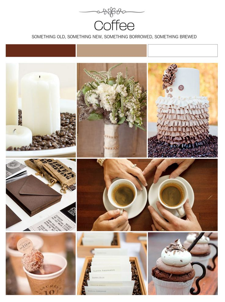 Coffee wedding inspiration board, color palette, mood board via Weddings Illustrated