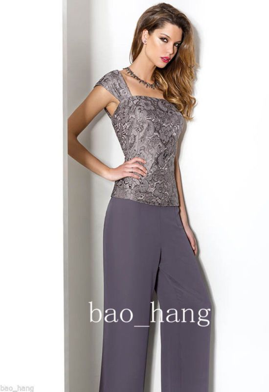 Fashion Mother Of Bride Dress Pant Suits Dark Gray Chiffon Formal Outfits Women