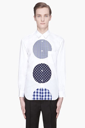 COMME DES GARÇONS SHIRT White contrasting dot poplin shirt