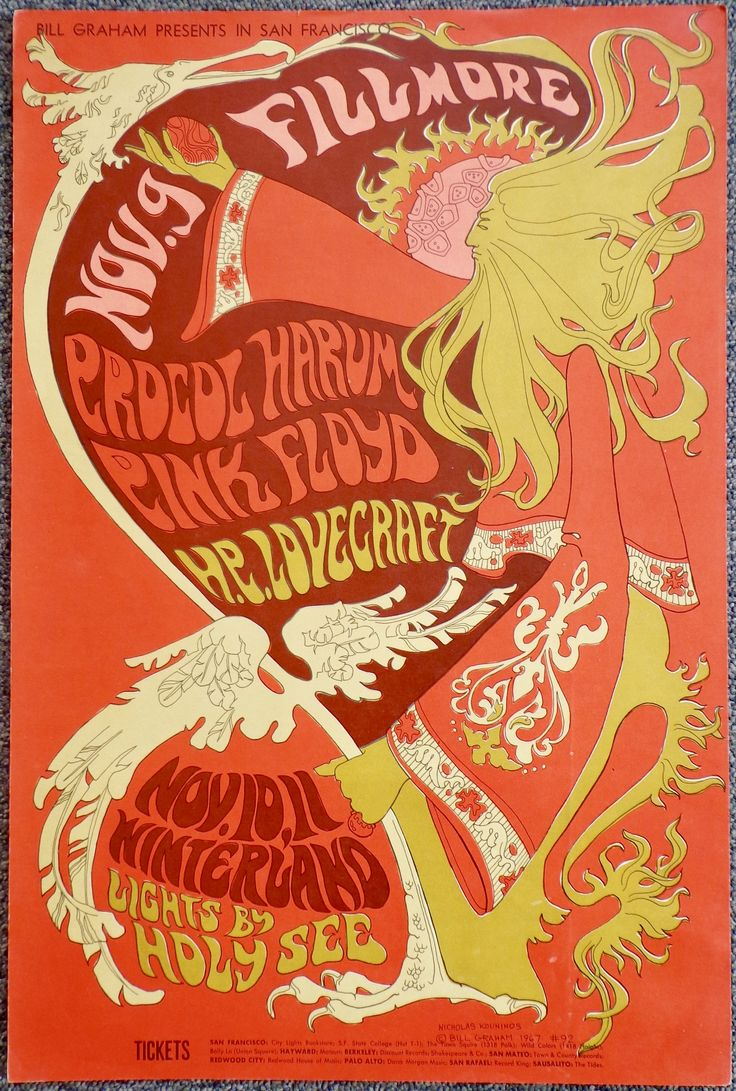 Pink Floyd, Procol Harum, HP Lovecraft original concert poster, Fillmore Auditorium Winterland San Francisco 1967. First edition.