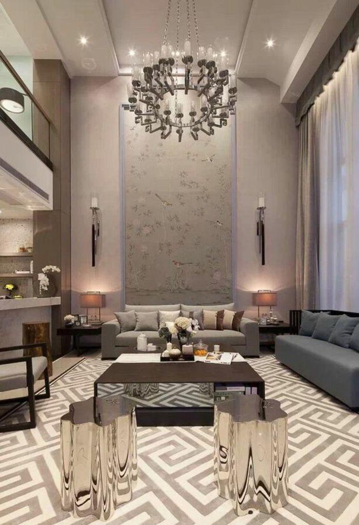 salon moderne de luxe, luminaire en forme de grand bougeoir rond ...