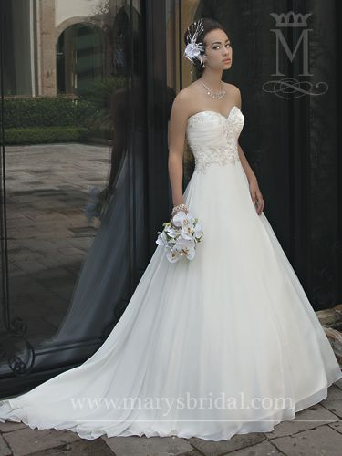 This gorgeous chiffon A-line gown features an intricate beaded bodice that will stun any wedding goer!