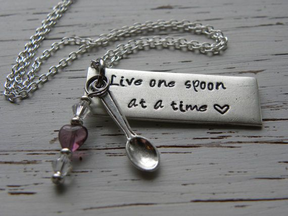 Live one spoon at a time spoonie necklace by WhisperingMetalworks