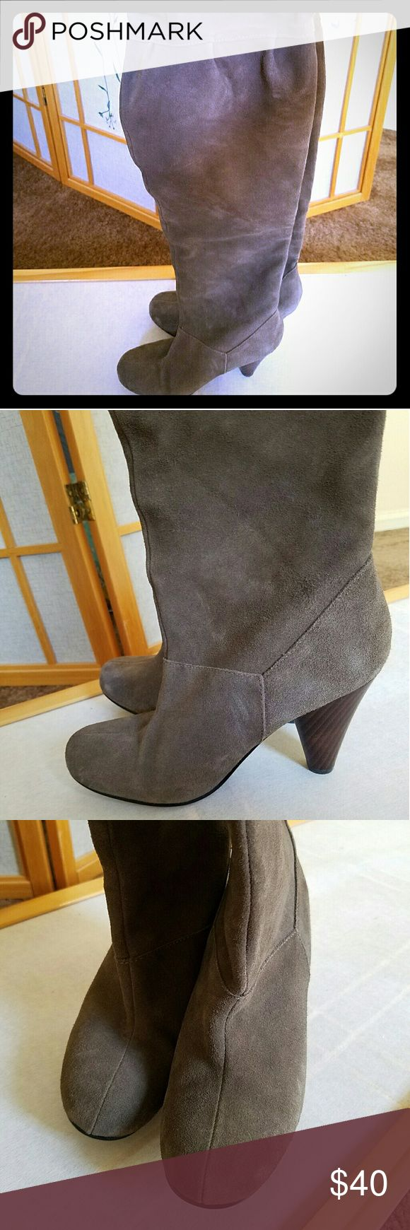 """Gorgeous """"Restricted"""" suede over the knee boots! Beautifully crafted, gray suede, over the knee boots. Notice the stitching detail and perfect wood, not a fake plastic heel! Timeless, stylish almond shaped toe, boot can be folded over or slouched for extra flare! These have been worn with love and care, with many compliments. Heel height is comfy at 3 inches. Restricted Shoes Over the Knee Boots"""