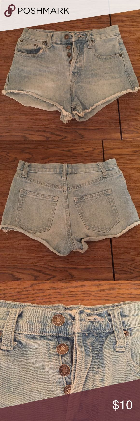 FOREVER 21 high-rise jean shorts High-rise jean shorts. Worn but still in great condition. Buttons up with a light wash. Forever 21 Shorts Jean Shorts