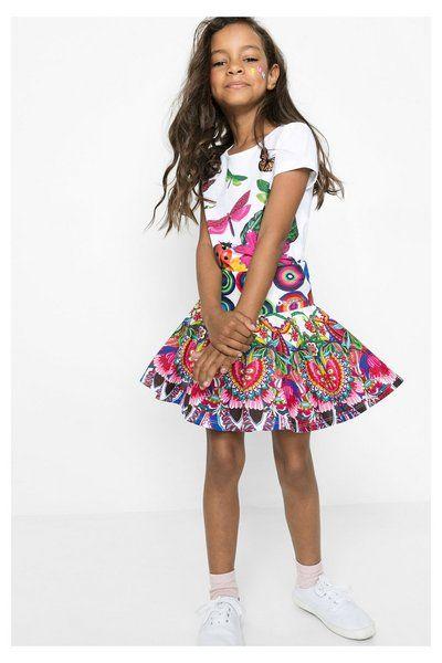 Falda fluida de colores para niña Desigual. La colección viene con ganas de jugar, ¿te apuntas?