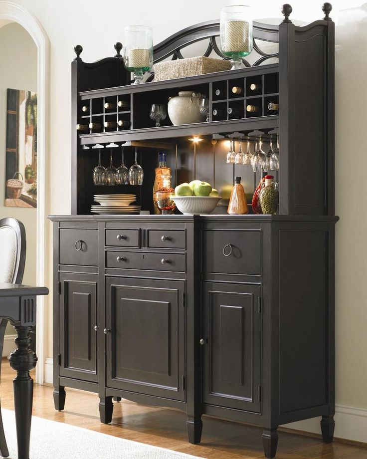 A Great way to finish off your dining room with this stylish serving buffet. Behind the doors you'll find wine storage and adjustable shelves for plates, glasses or bottles. With two deep outside drawers for towel or place mat storage, two smaller drawers for utensils and a silverware drawer with dividers. A great way to make entertaining easy.