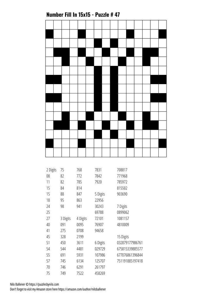 Free Downloadable Puzzle Number Fill In 15x15 47