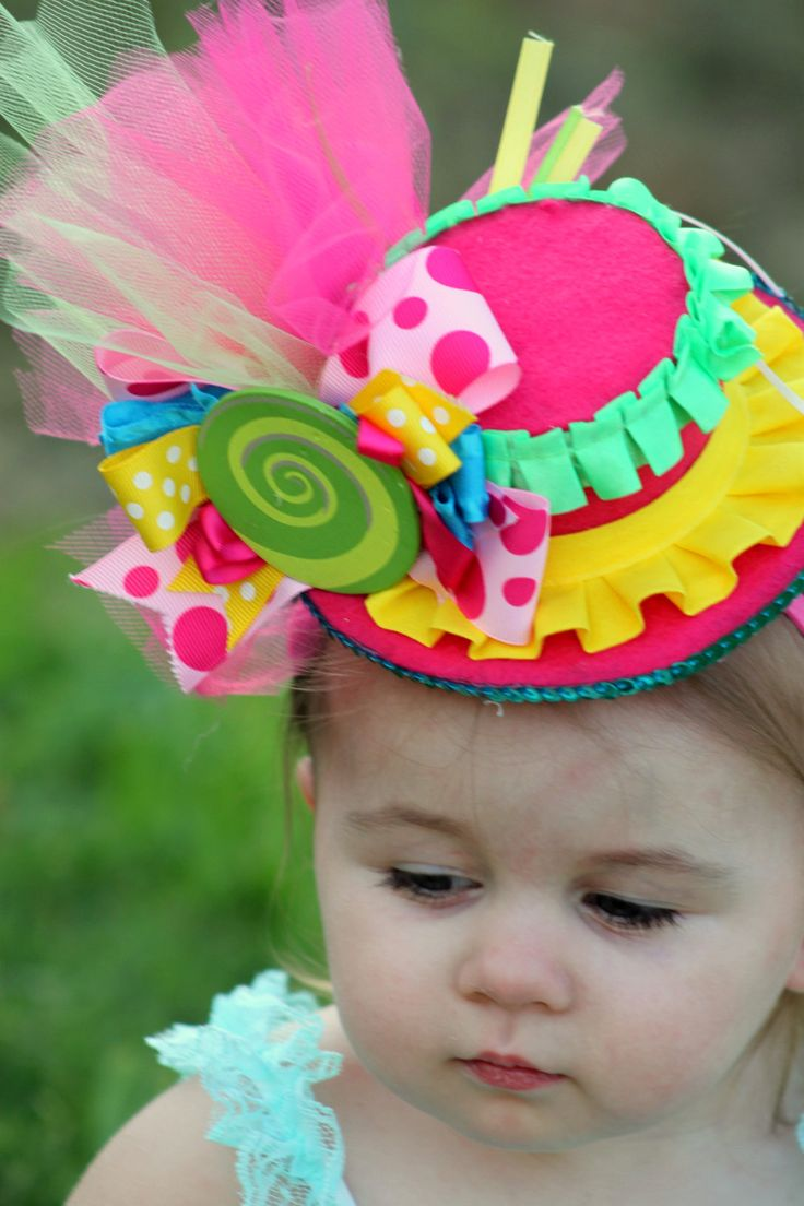 Mini Top Hat - MOLLY - a Top Hat, Birthday,  Mad Hatter, Circus, Sweet Shoppe Shop, Candyland - Little Girls Hat - Krown Kreations. $24.90, via Etsy.