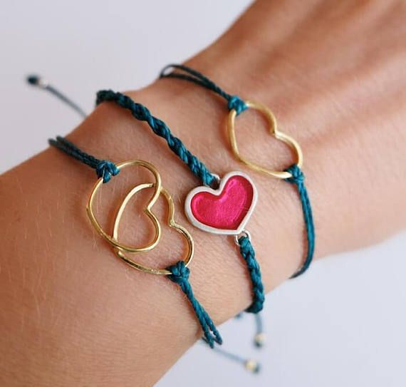Adjustable Sterling Silver Heart Bracelets