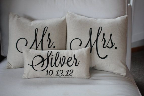 Mr & Mrs Custom Pillow with Name and Wedding Date by SoVintageChic, $60.00