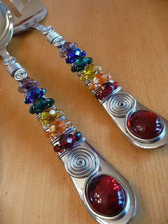 http://www.beadshop.com.br/?utm_source=pinterest&utm_medium=pint&partner=pin13 talher com pedrarias em cristais Rainbow Serving Utensils