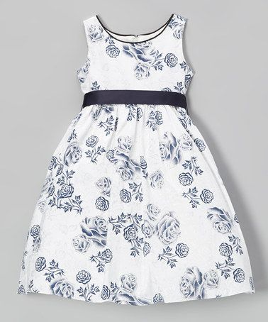 Look what I found on #zulily! White & Navy Rose A-Line Dress - Toddler & Girls by L'etoile #zulilyfinds