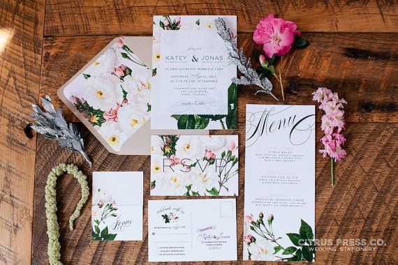 KATEY SUITE // Botanical Wedding Invitation, Rustic, Blush, Roses, Classic, Vintage, Garden Wedding, Spring Wedding,  Wedding, Flowers