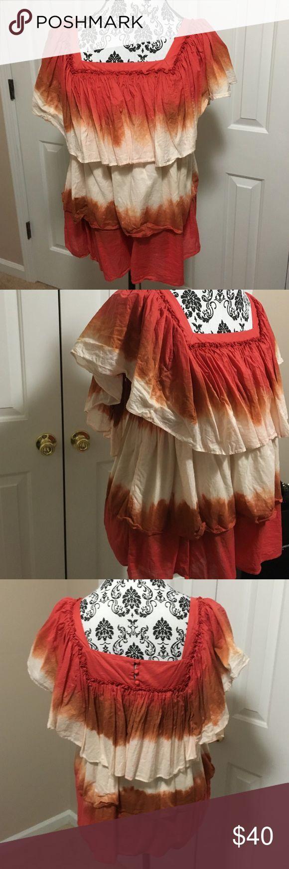 La Rok tie dye tiered ruffle peasant top In very good condition la rok Tops Blouses