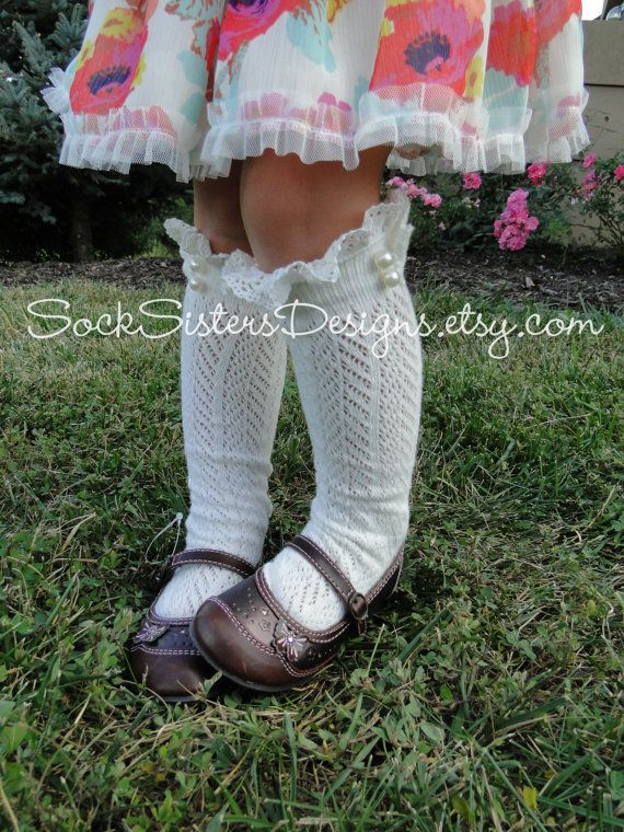 Childrens Boot Socks with Lace and Pearls by SockSistersDesigns, $17.50