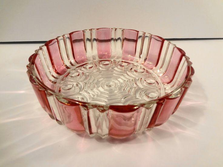 Anchor Hocking  Ruby Flash Candy Dish Vintage Mid Century Modern by TresTresInteressant on Etsy