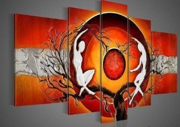 Santin Art -100% Hand-painted Free Shipping Wood Framed Best-selling Oil Wall Art Red Sun Tree Dancers Home Decoration Abstract Landscape Oil Painting on Canvas 5pcs/set Mixorde Santin Art,http://www.amazon.com/dp/B00908J40K/ref=cm_sw_r_pi_dp_IaCYsb18B188FBG2