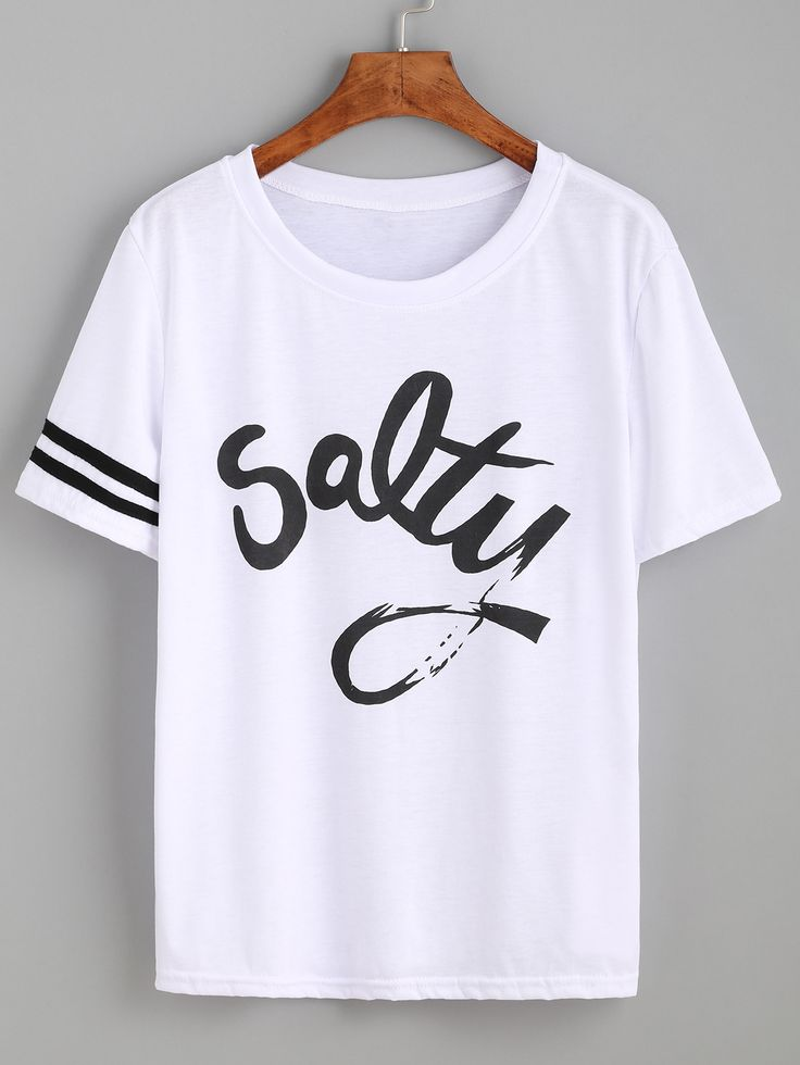 striped trim sleeve letters print tee - Ideas For T Shirt Designs