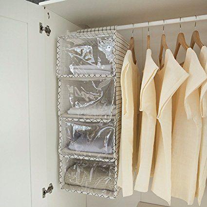 Amazon 防塵カバー付き 吊り下げ収納 HULISEN クローゼット 衣類ラック 空間活用 型崩れ防止 小物整理 (四段) クローゼット吊り下げ収納 オンライン通販